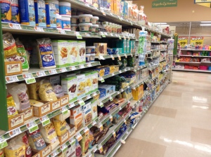 The gluten free aisle at the S. Burlington Hannaford's