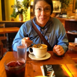 Mom enjoying Stone Soup
